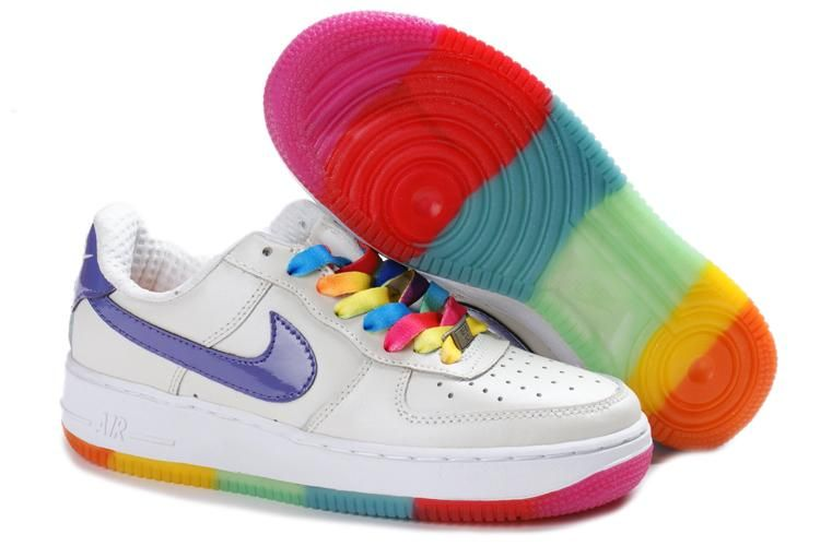 White Purple Nike Air Force 1 Rainbow Outsole Gs