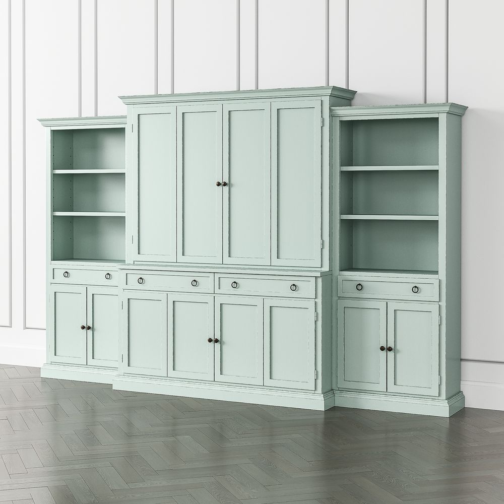 Cameo blue grey 4 piece entertainment center with storage bookcase