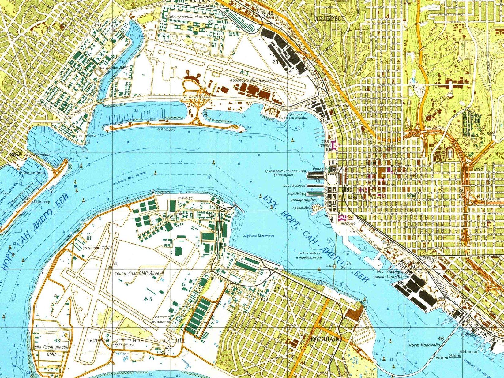Soviet Military Map of San Diego, CA, 1980 #map #sandiego ...