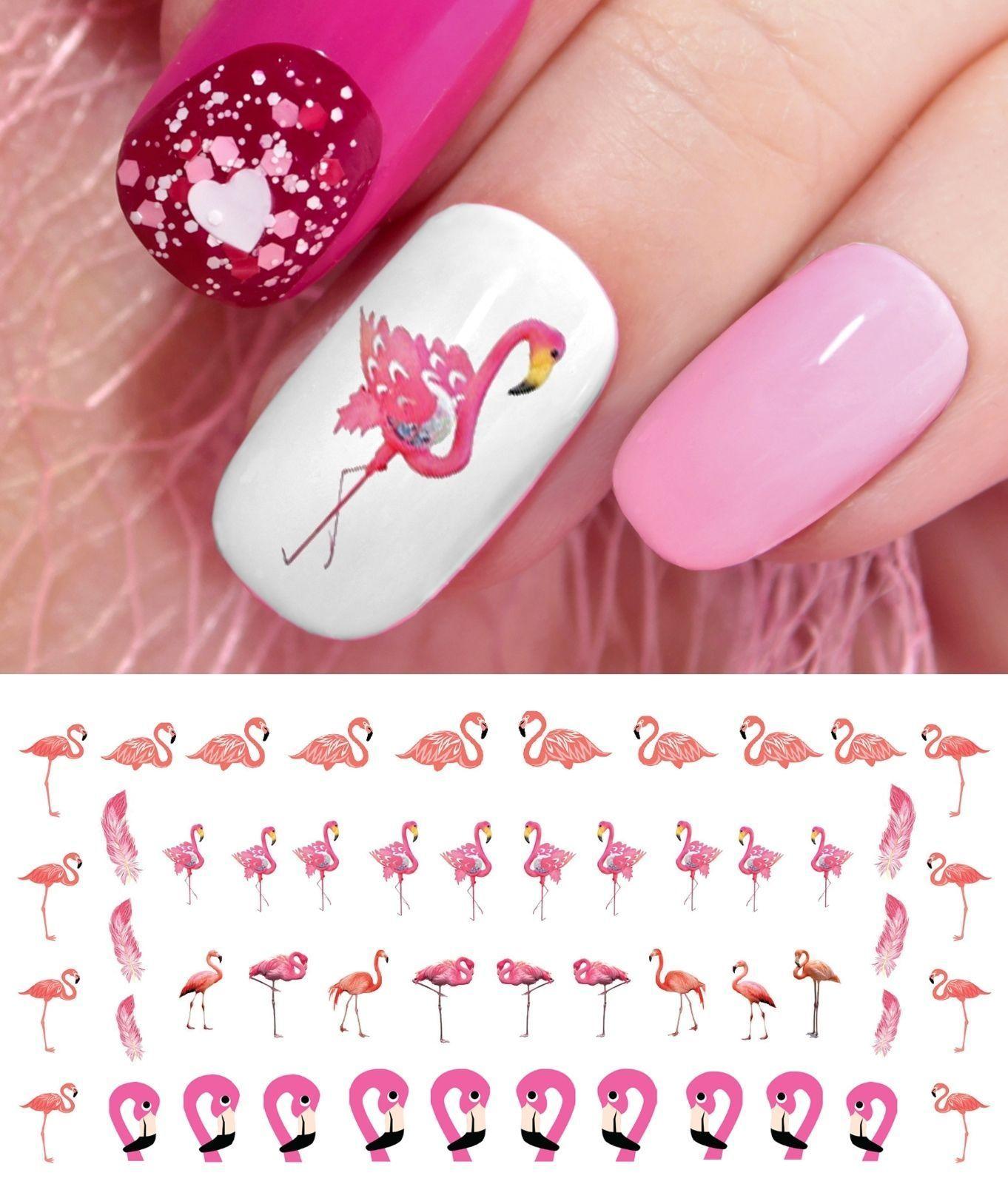Flamingo Nail Art Waterslide Decals - Salon Quality!   Nail Art ...
