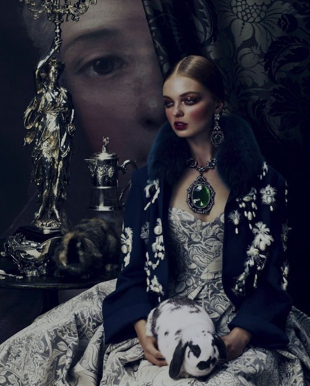 """""""Ornate Expectations"""": Nina Porter in Baroque Fashion by Andrew Yee for How to Spend It"""