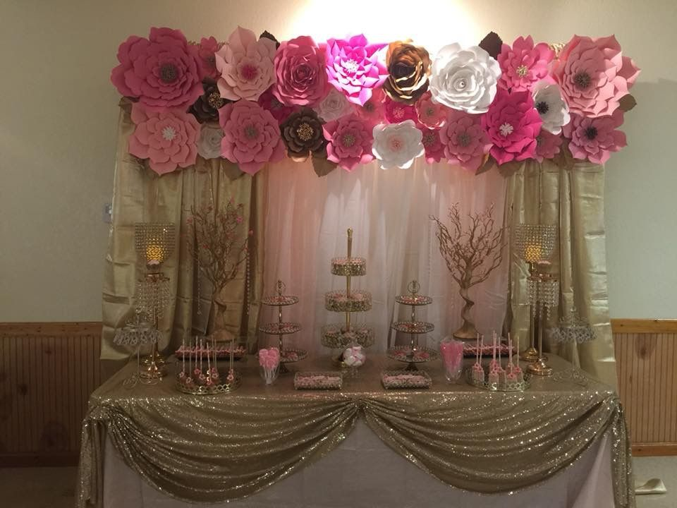 Gold Pink Blush And White Paper Flowers Candy Table Pink Candy Table White Candy Table Sweet 16 Candy Bar