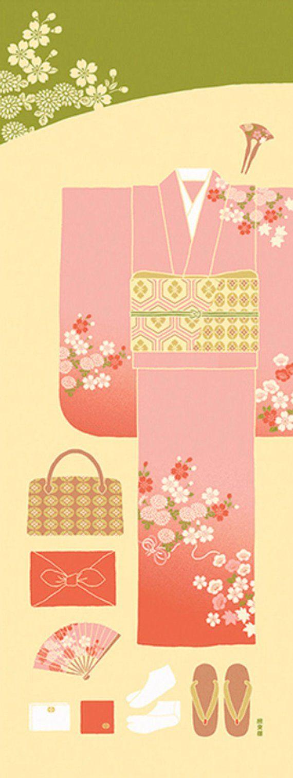 Kawaii Japanese Traditional Kimono Costume, Japanese Hand Dyed ...