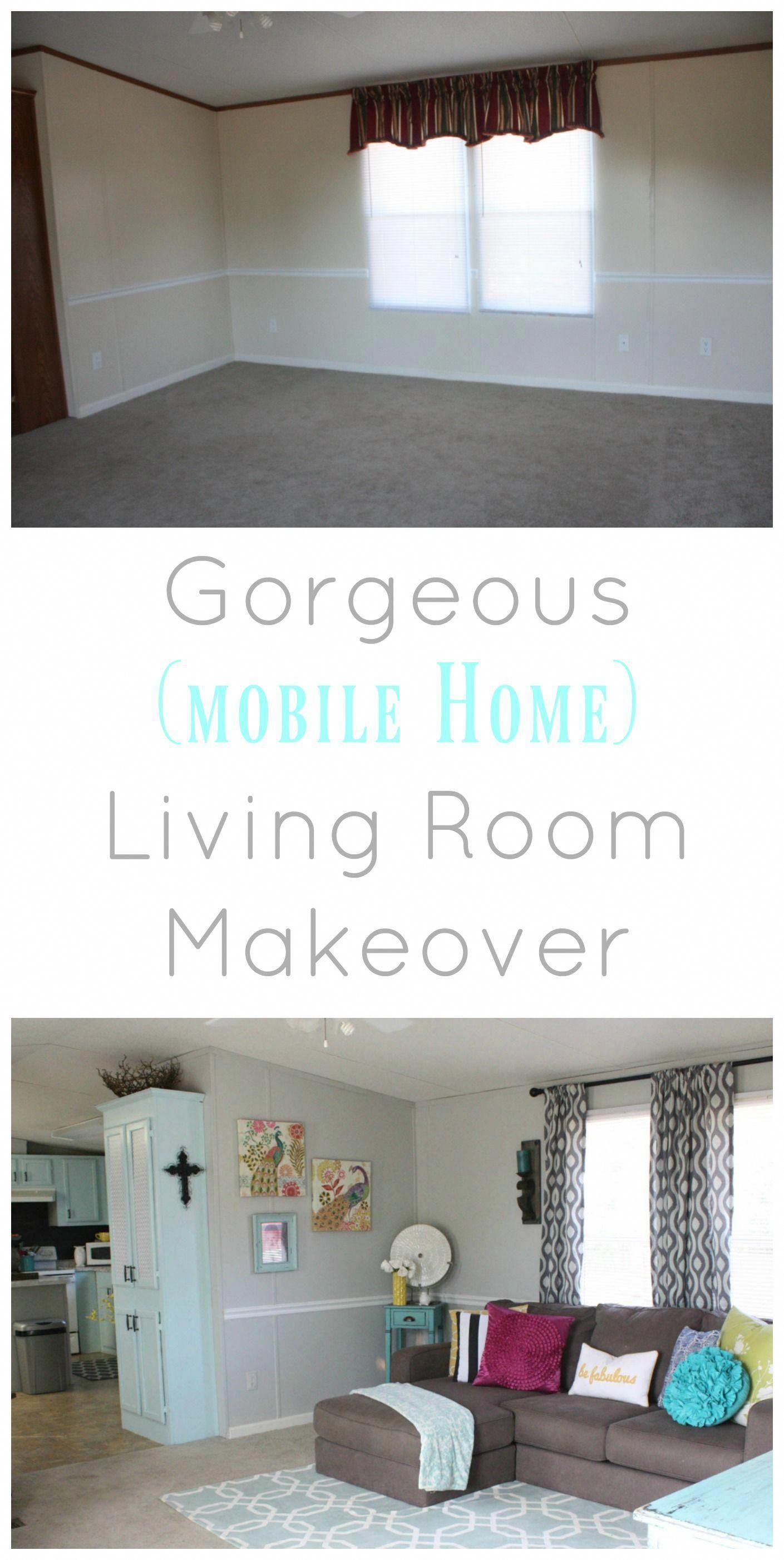 Beautiful Living Room Before and After The single wide mobile home is unreal The budget frie ...