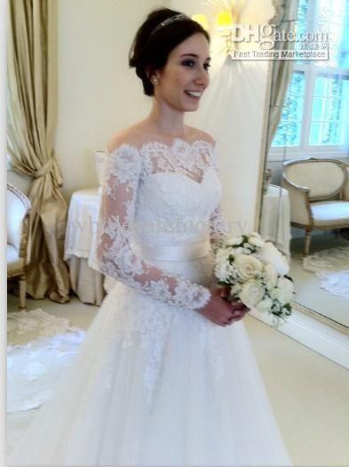 2014 New wedding dress off the shoulder neckline sheer lace long ...