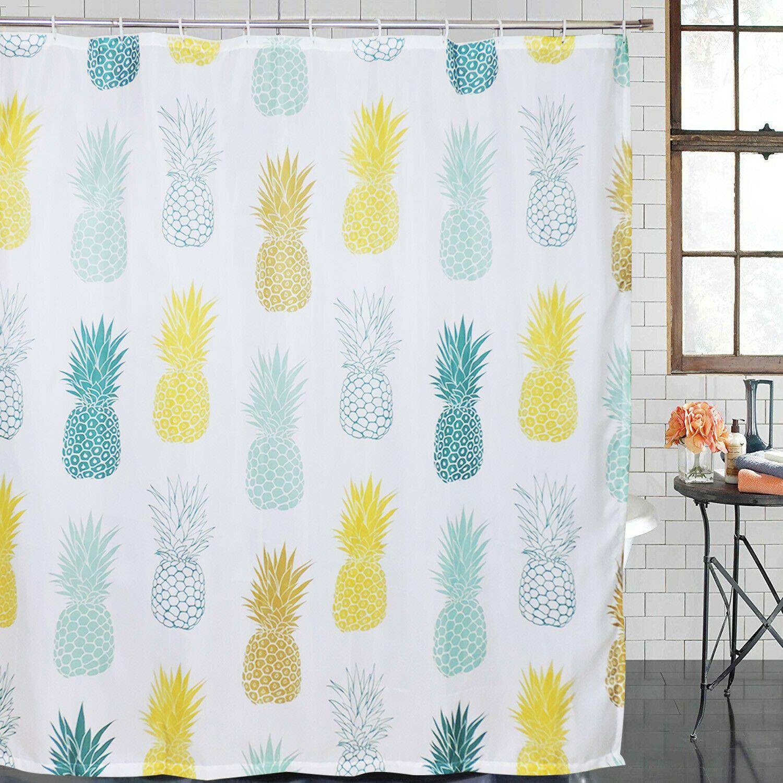 Waterproof Fabric Hooks Bathroom Shower Curtain Pineapple Fruit