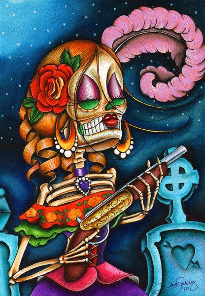 Love Street by Dave Sanchez Canvas Giclee Art Print Day of the Dead Sugar Skull