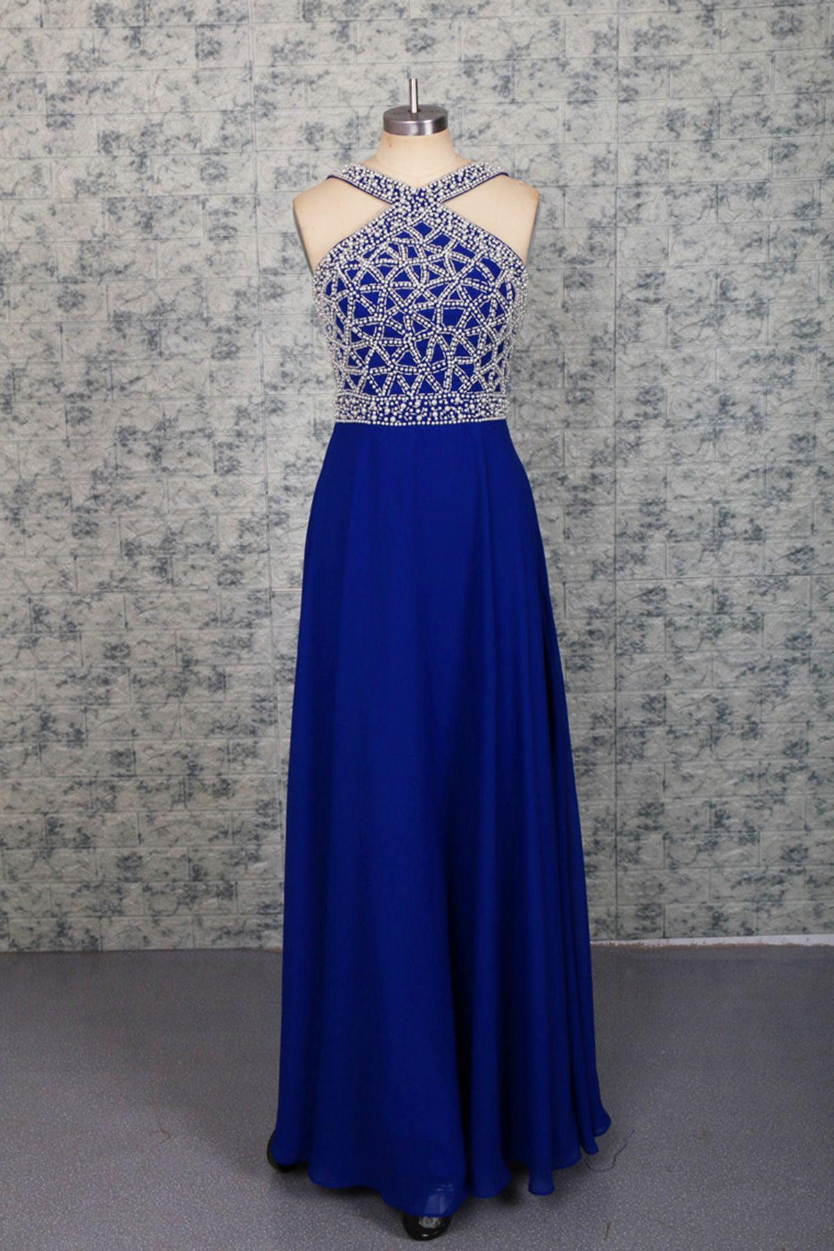 Sequins prom dress halter prom dress cute navy blue chiffon prom