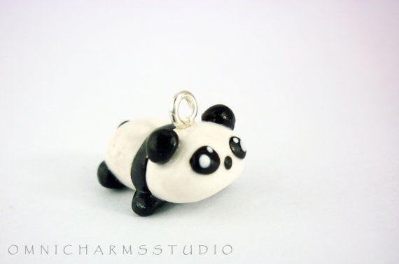 Cute Panda Polymer Clay Charm by OmniCharmsStudio on Etsy, $5.80
