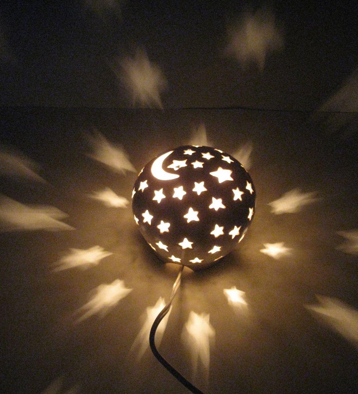 Lamps with night light - Ceramic Nursery Night Light Electric Lamp Lantern Luminary Moon And Stars Starry Nights 40 00