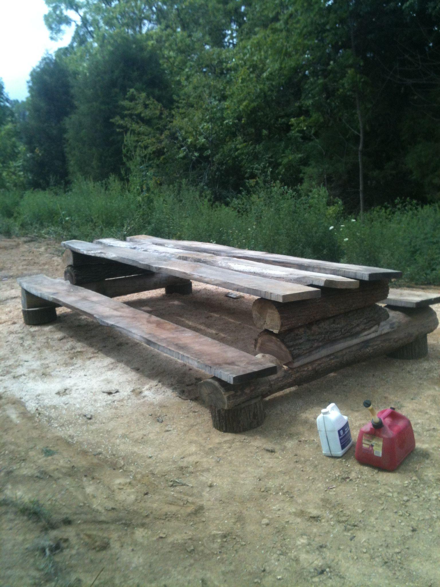 Rustic log picnic table