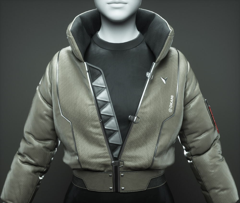 Artstation Cyberpunk Bomber Jacket 3d Fashion Design Course Travis Davids Cyberpunk Clothes Cyberpunk Style Cyberpunk Fashion [ 846 x 1000 Pixel ]