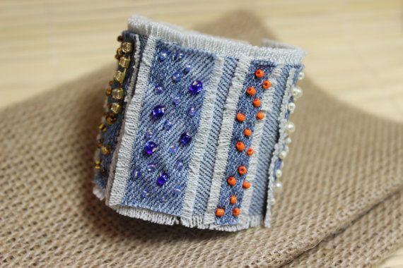 Jeans bracelet,  Boho Bracelet , Hippie  Jewelry, Ethnic bracelet, Summer Braselet, Textile Jewelry , Ethnic Wedding