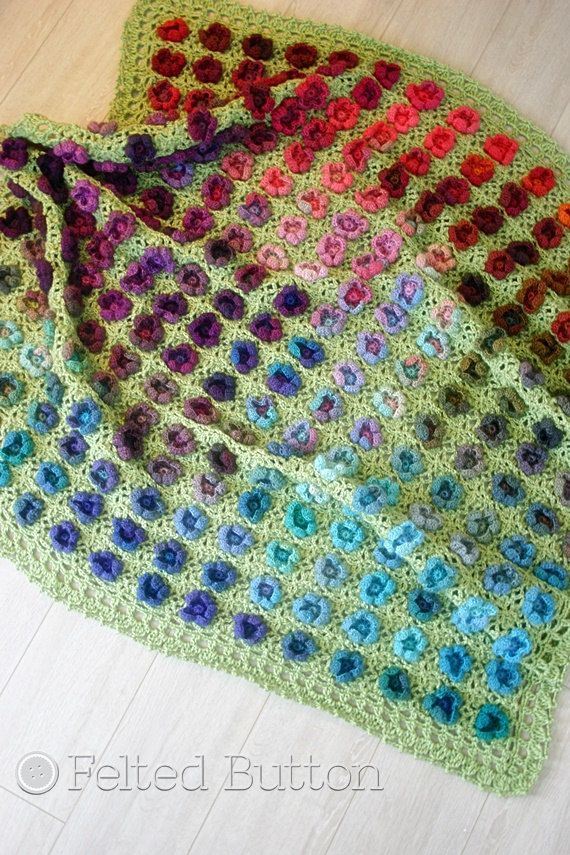 Crochet Pattern, Monet\'s Garden Throw, Afghan, Blanket | Cerca de ...