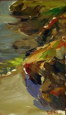 Little beach in Cornwall (England) || Oil on board #figurativepaintings #figurativepaintingsinBarcelona