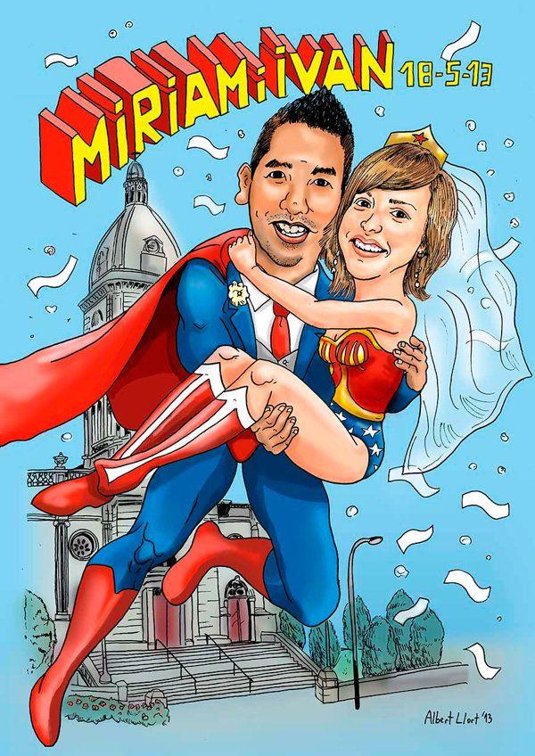 wedding caricature order for superheroes fan couple caricatura de
