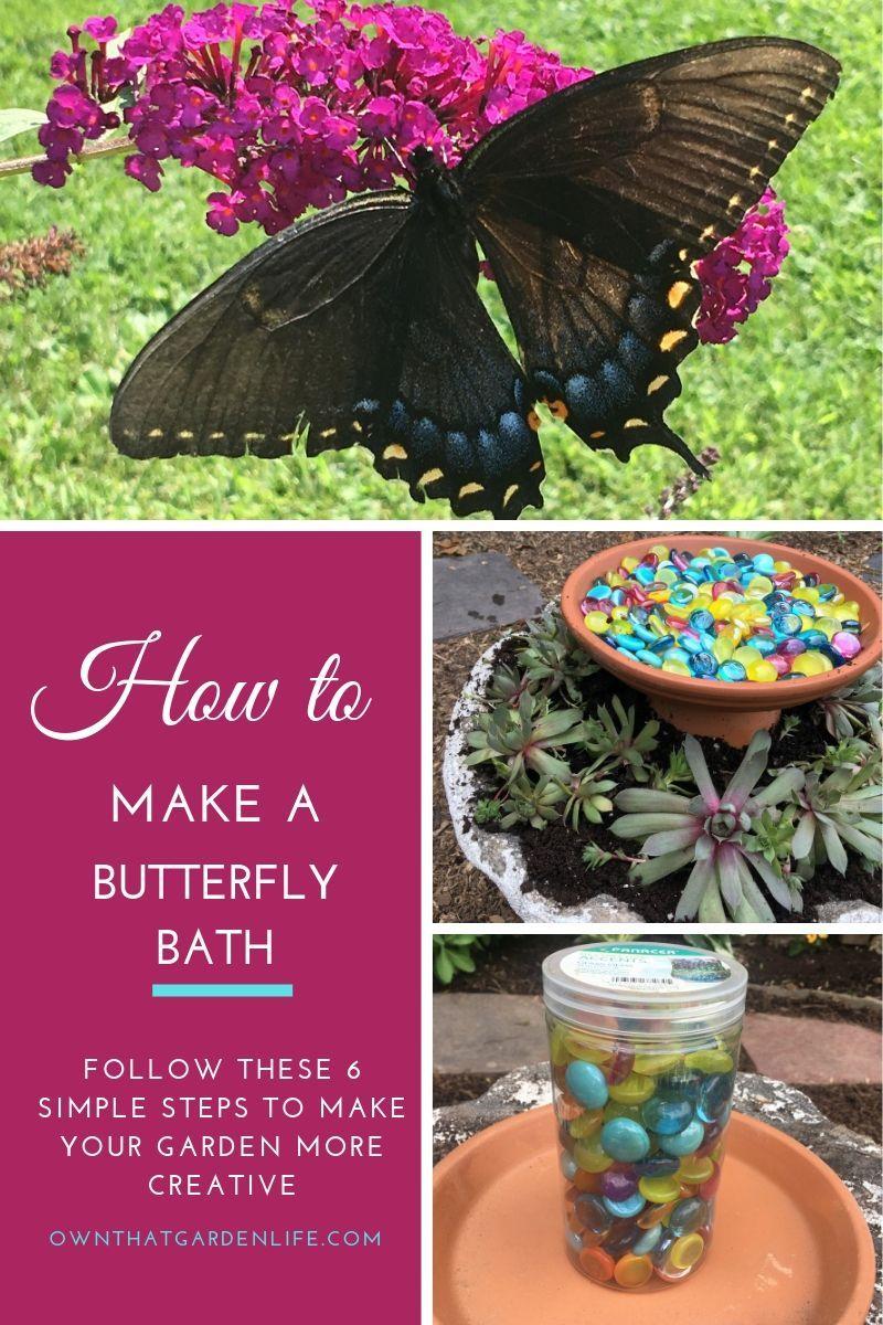 How to Make A Butterfly Bath Bird garden, Flower garden