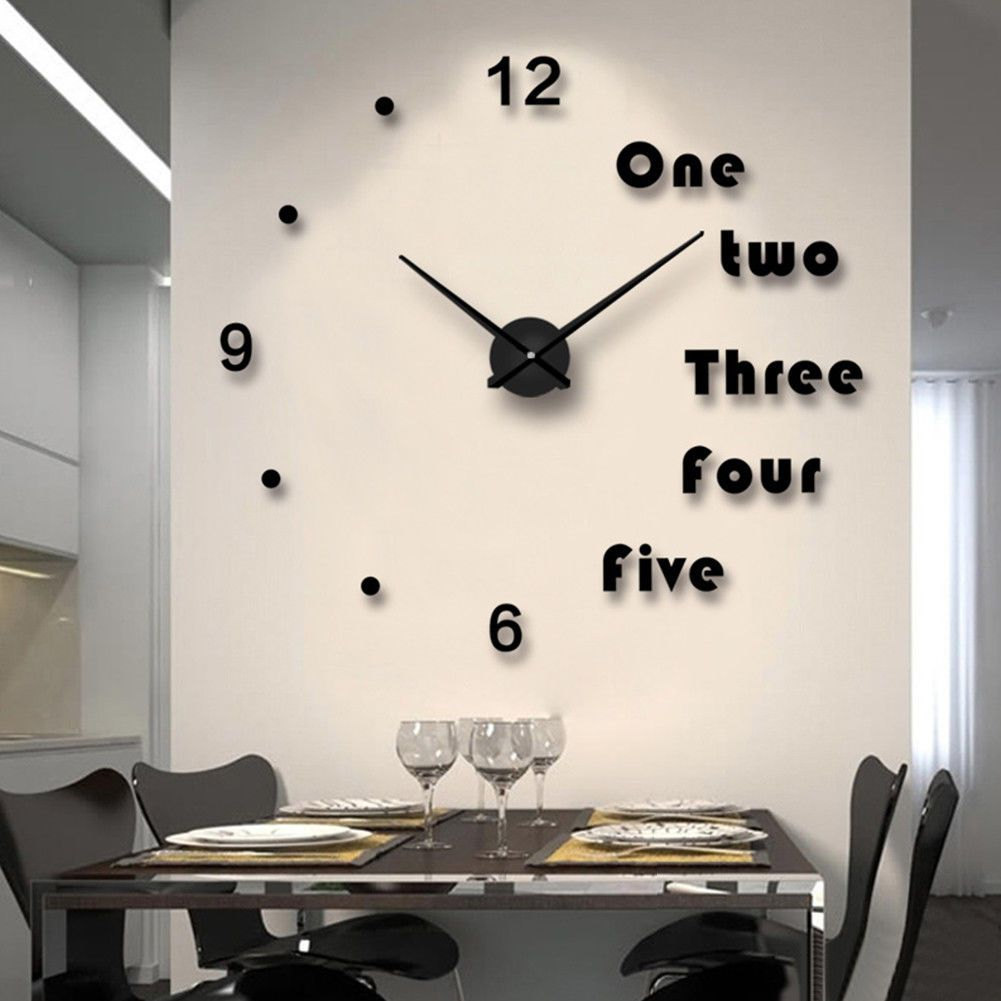 Modern Analog Diy Large Number Wall Clock 3D Mirror Surface Sticker ...