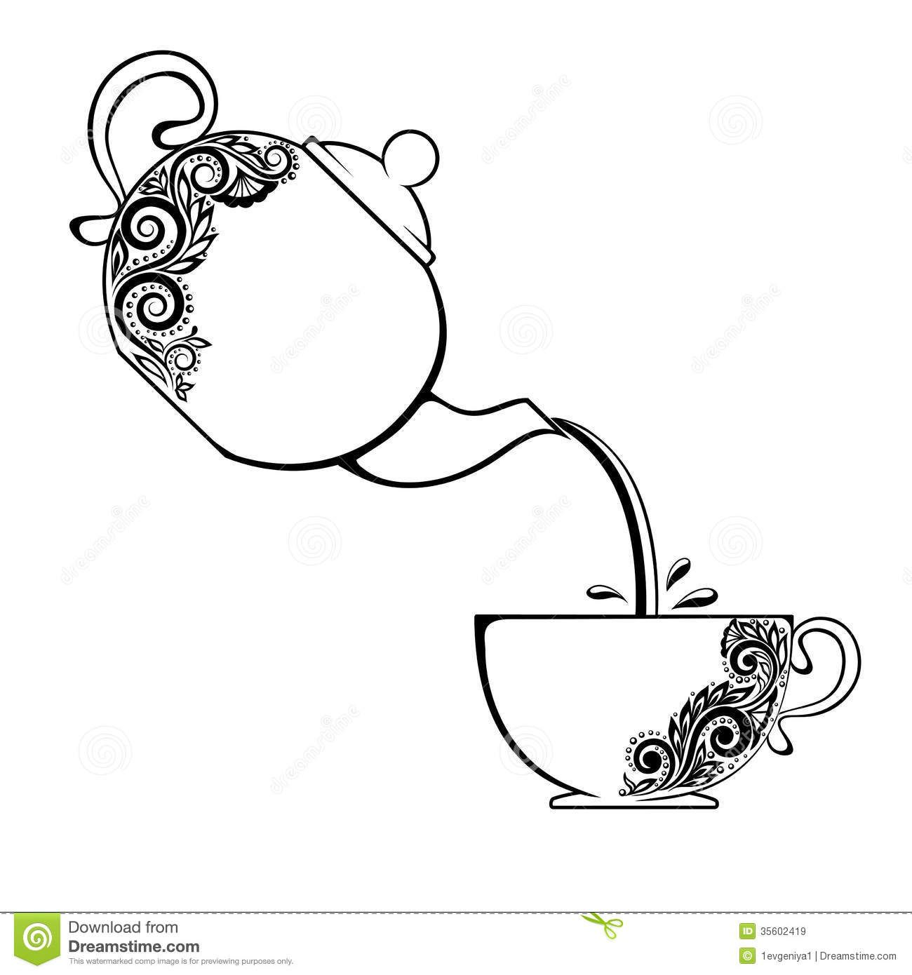 A Cup Of Tea And Vintage Kitchen Utensils Stock Vector - Image ...
