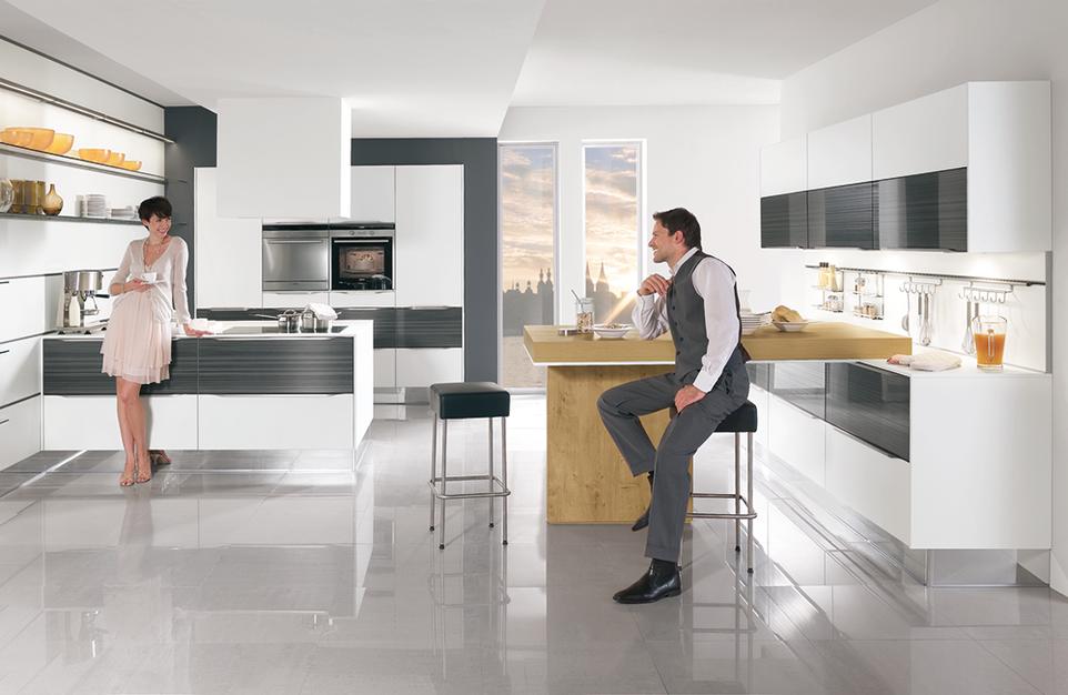 Design Küche, Theke, Einbauküche, Winkelküche, Hochglanz Lack weiß ...