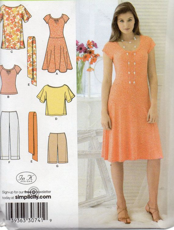 259615b4d405 Simplicity Easy to Sew Pattern 3759 DRESS Tunic CROPPED Pants Top City  SHORTS Misses 6 8 10 12 14