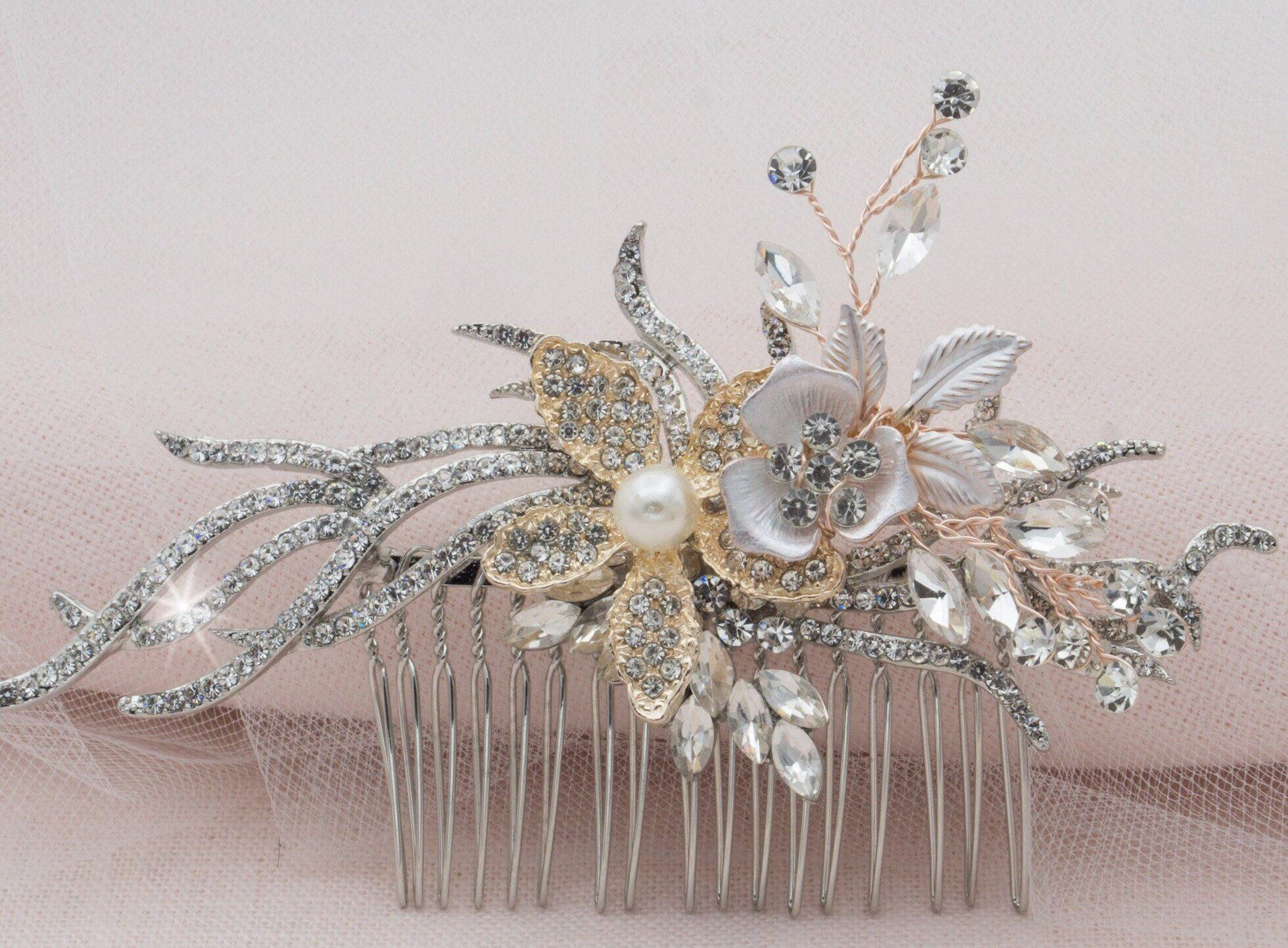 Rose gold silver gold floral bridal hair piece wedding headpiece