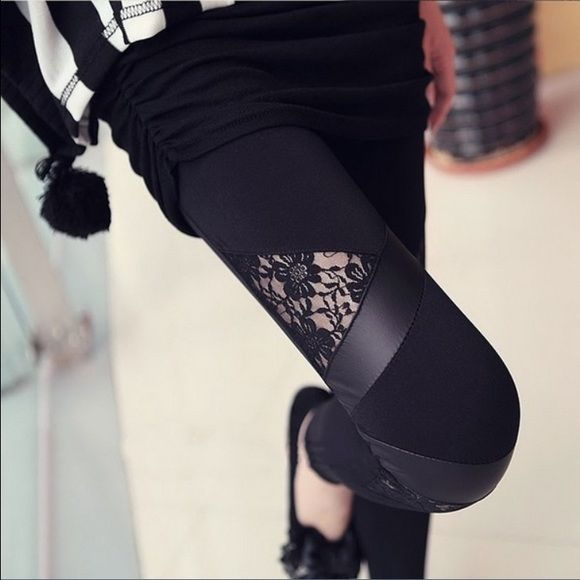Host Pick Black sexy leggings Beautiful sexy lace leather black leggings fits small and medium new in package Pants Leggings
