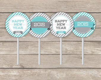 New Year's Eve Turquoise & Grey Party - PRINTABLE Cupcake Toppers - Instant Download