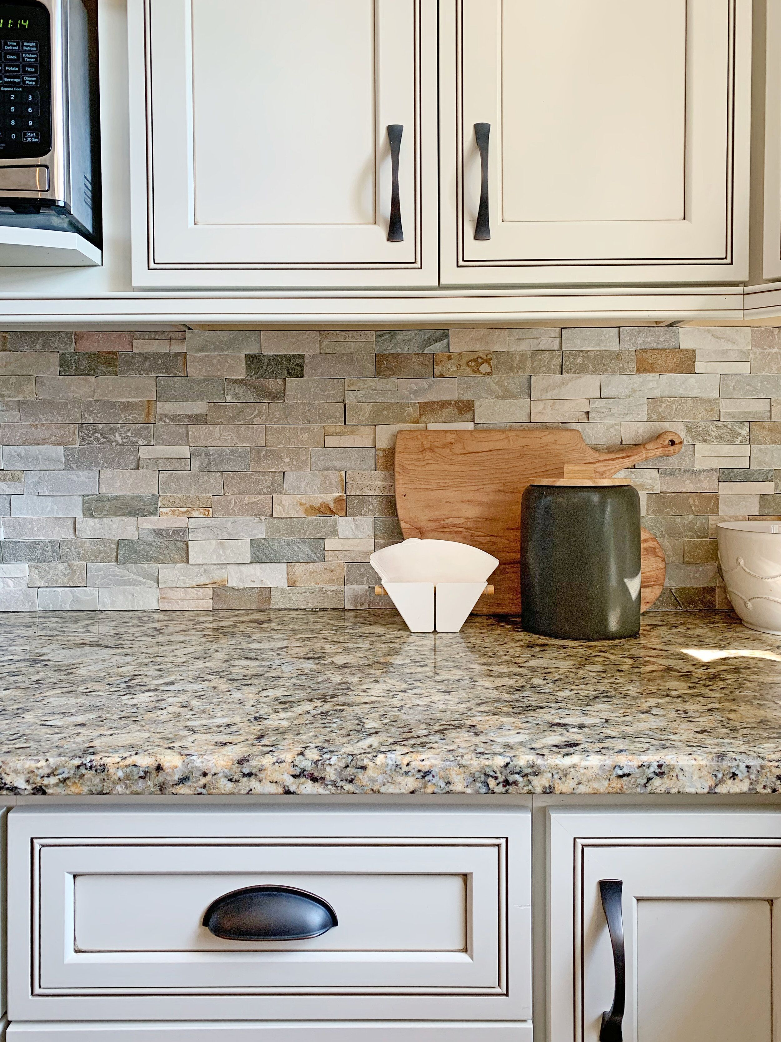 How To Work With Dated Granite In Your Kitchen In 2021 Brown Granite Countertops Antique White Cabinets Antique White Kitchen