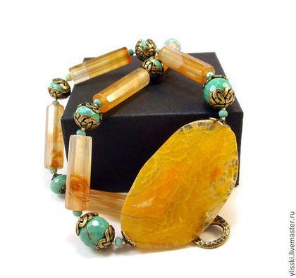 Колье с агатом, хризопразом Солнечное - жёлтый,авторское украшение,натуральные камни