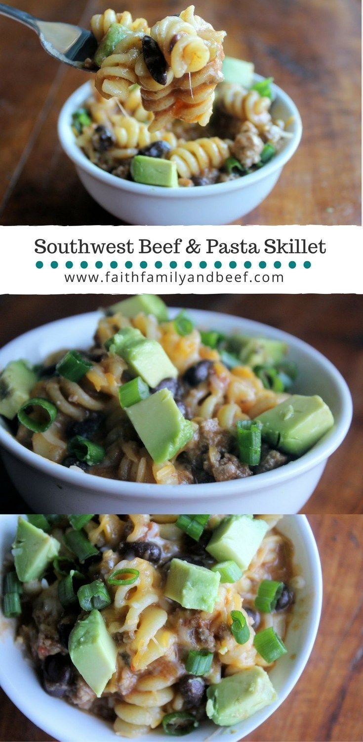 Southwest Beef & Pasta Skillet - A one pot supper solution that's sure to satisfy. #groundbeef #beef #recipe #onepotrecipe #quickandeasyrecipe