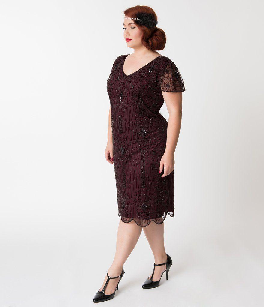 d10e94eff6e Plus Size 1920s Style Plum Purple Beaded Cap Sleeve Edwardian Flapper Dress