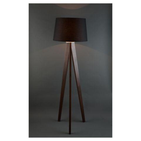 Tesco Direct Tesco Lighting Tripod Wooden Floor Lamp Dark Wood