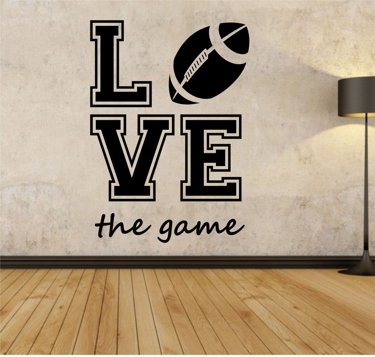 Football Wall Decal LOVE THE GAME Sticker Art Decor Bedroom Design Mural  Sports Lifestyle Work Out