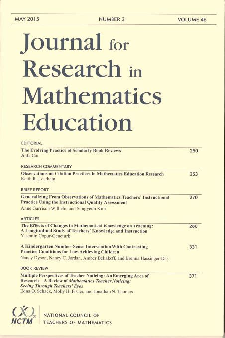 Journal for research in mathematics education. Nº 3, mayo, 2015.