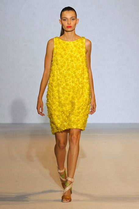 3D Pop up Roses in retro turmeric yellow  shift    Nicole Farhi Spring - Summer 2012 .