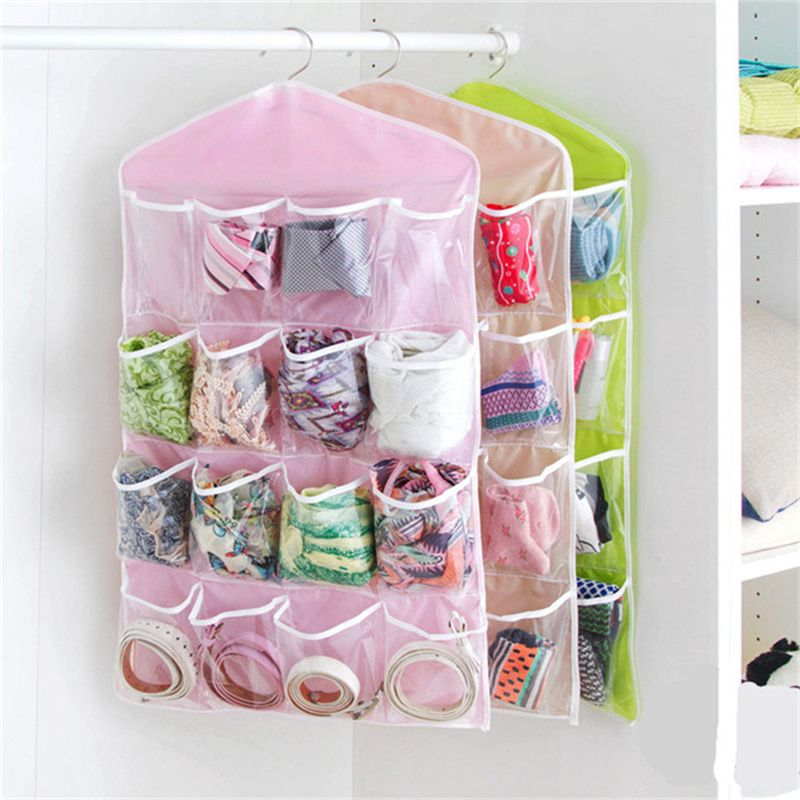 1pcs Polyester 16 Pockets Home Door Wall Vertical Hanging Wall Storage Organizer For Socks Shoe Glasses Keys Sorting Mails Bag Affiliate Organizar