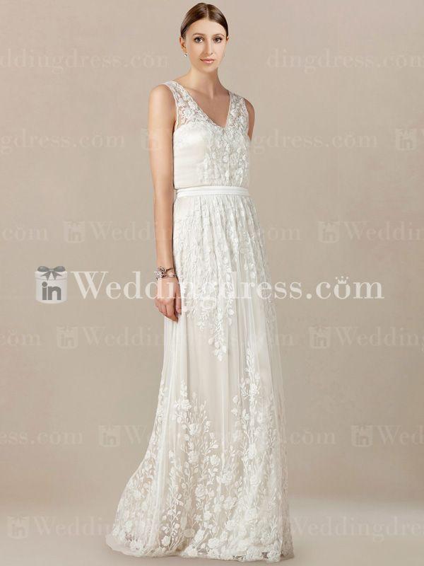 b63adb2fd2 Simple Lace Wedding Dress with V-Neckline LC020 | Wedding Ideas ...