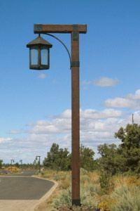 Wooden Light Post Driveway Lighting Backyard Exterior