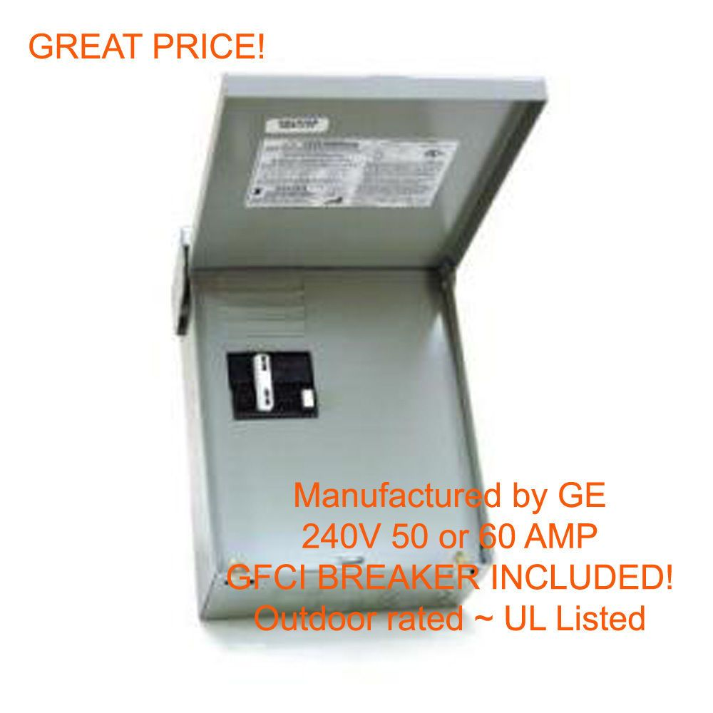 Details About 60 Amp Gfci Gfi Spa Hot Tub Disconnect With Outdoor Box 60a Subpanel New Spa Hot Tubs Outdoor Box Gfci