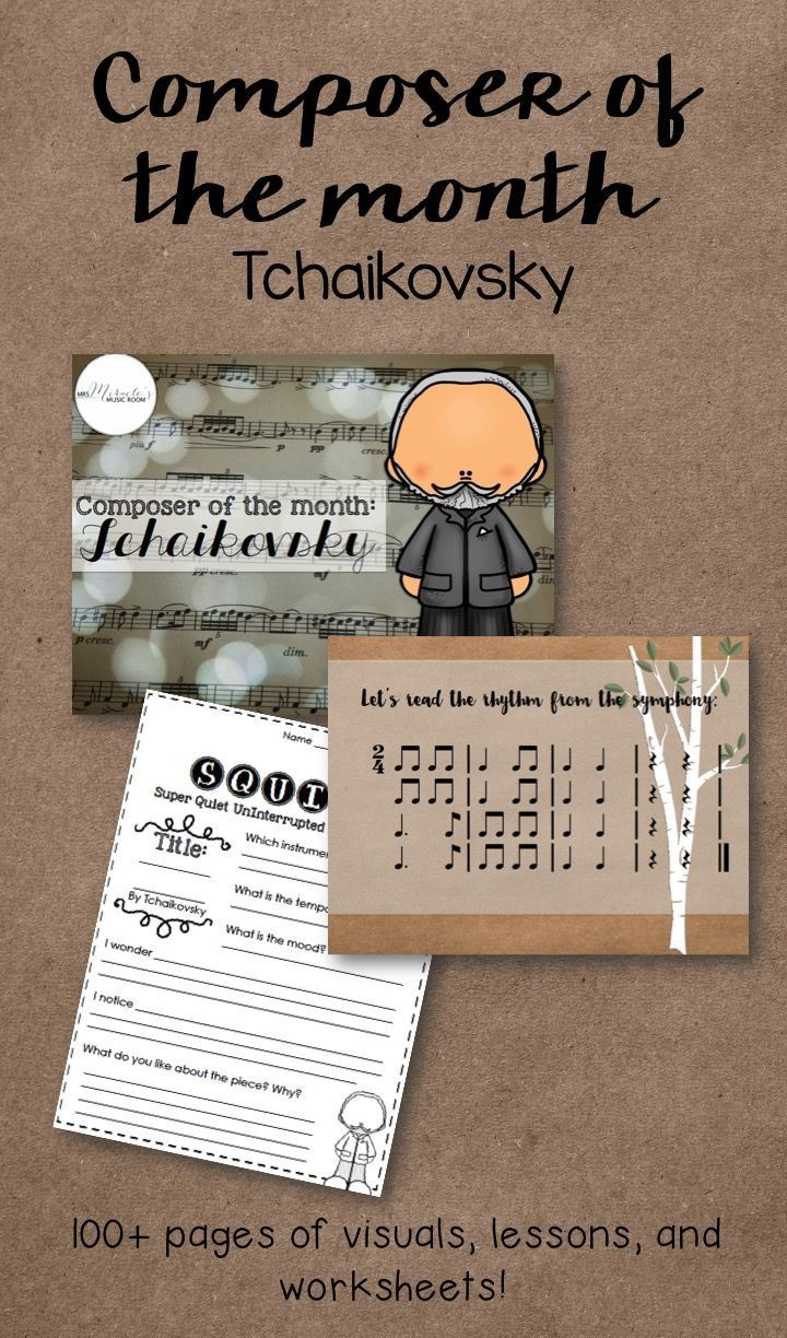 Worksheets Music Composer Worksheets composer of the month tchaikovsky includes listening lessons worksheets visuals and
