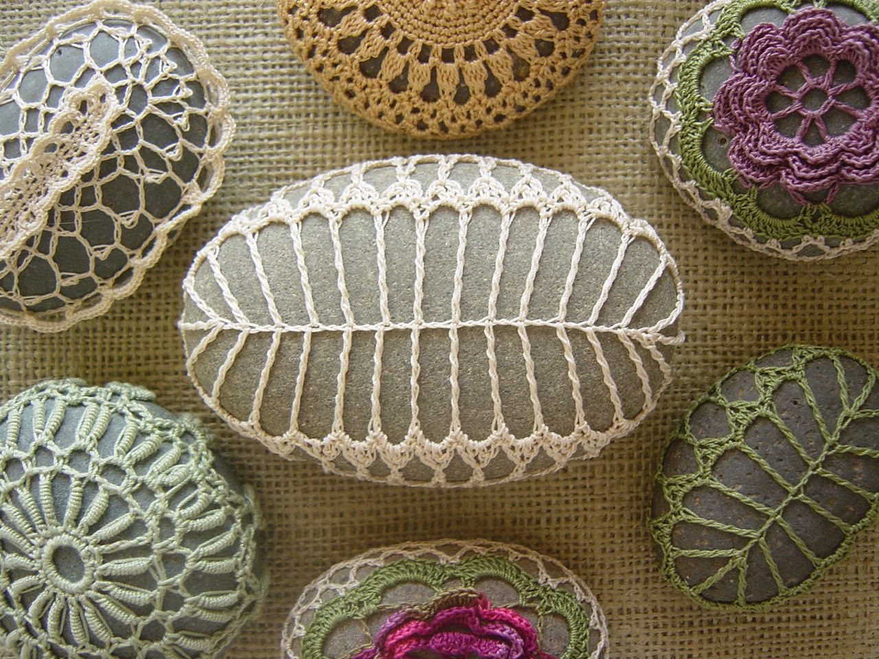 Knitted beach stone Crochet lace stone cover