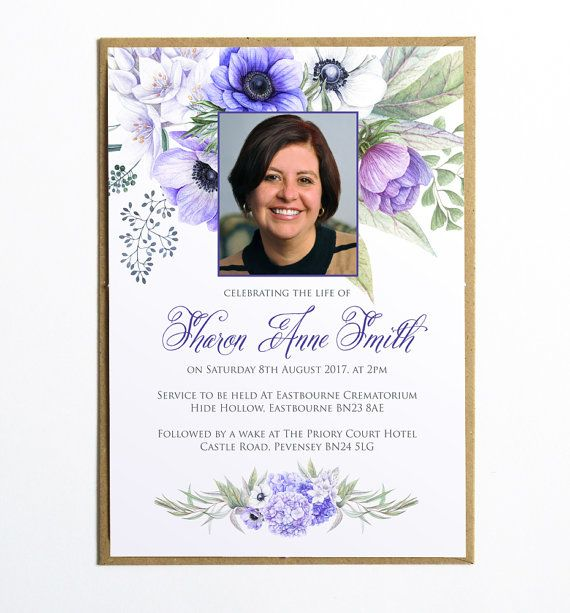 This elegant floral funeral invitation (or announcement card - funeral invitation cards