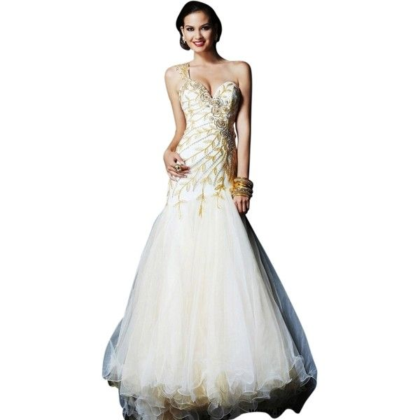 Pre-owned Sherri Hill Ivory/ Gold New 1572 Size 8 Dress ($348 ...