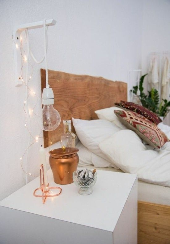 hangeleuchte-gluhbirne-lampen-schlafzimmer-deko-ideen-kupfer - schlafzimmer deko bilder
