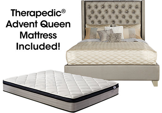 Sofia Vergara Paris Silver 5 Pc Upholstered Queen Bed And Mattress