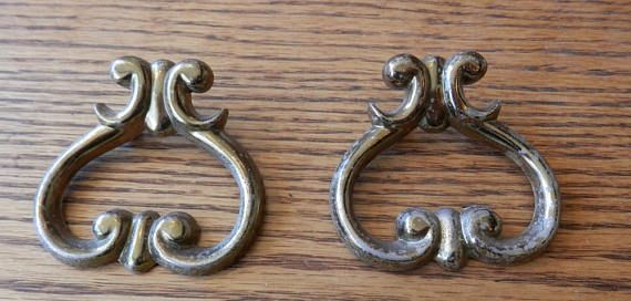One Antique Original Vintage brass pull