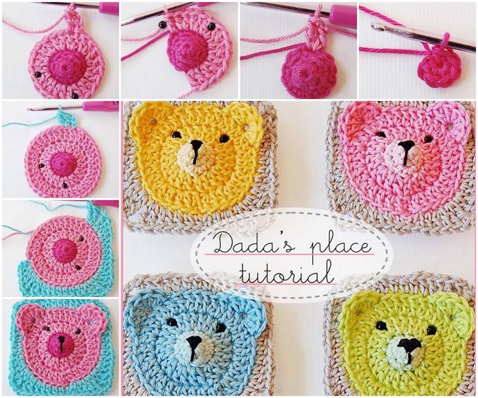 Teddy Bear Granny Square Blanket Pattern | Häkeln, Stricken und ...