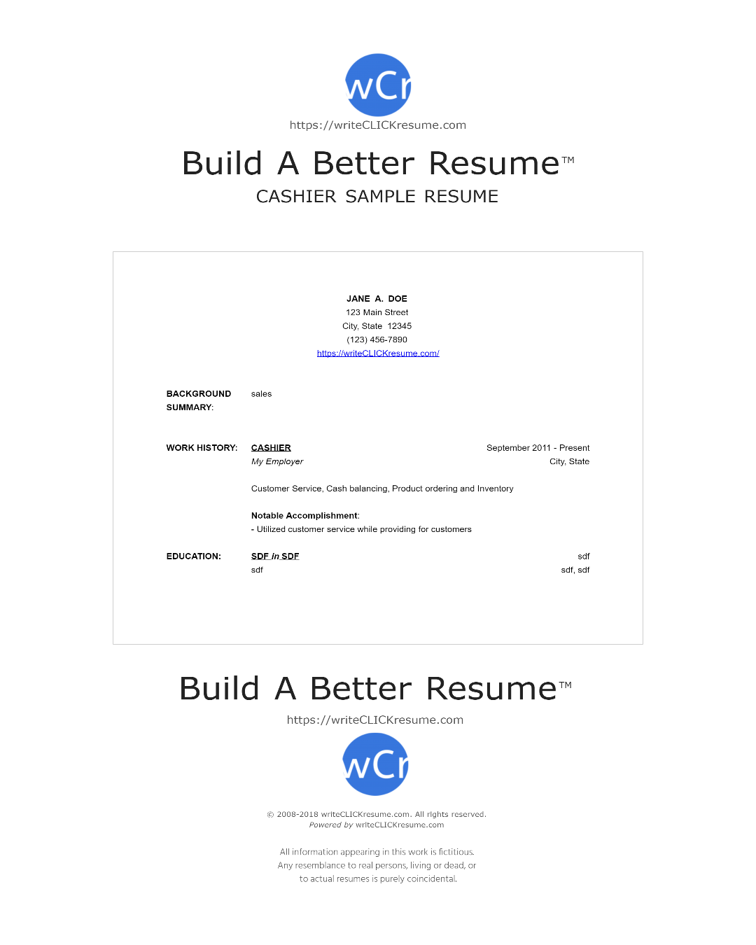 Sample Cashier In Virg Resume By WriteclickresumeCom  Resume