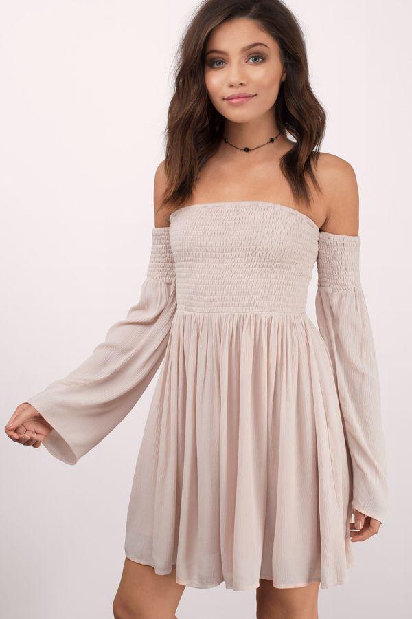 Ellie Off The Shoulder Dress In 2020 Cute Dresses Black Long Sleeve Dress Bell Sleeve Dress Boho